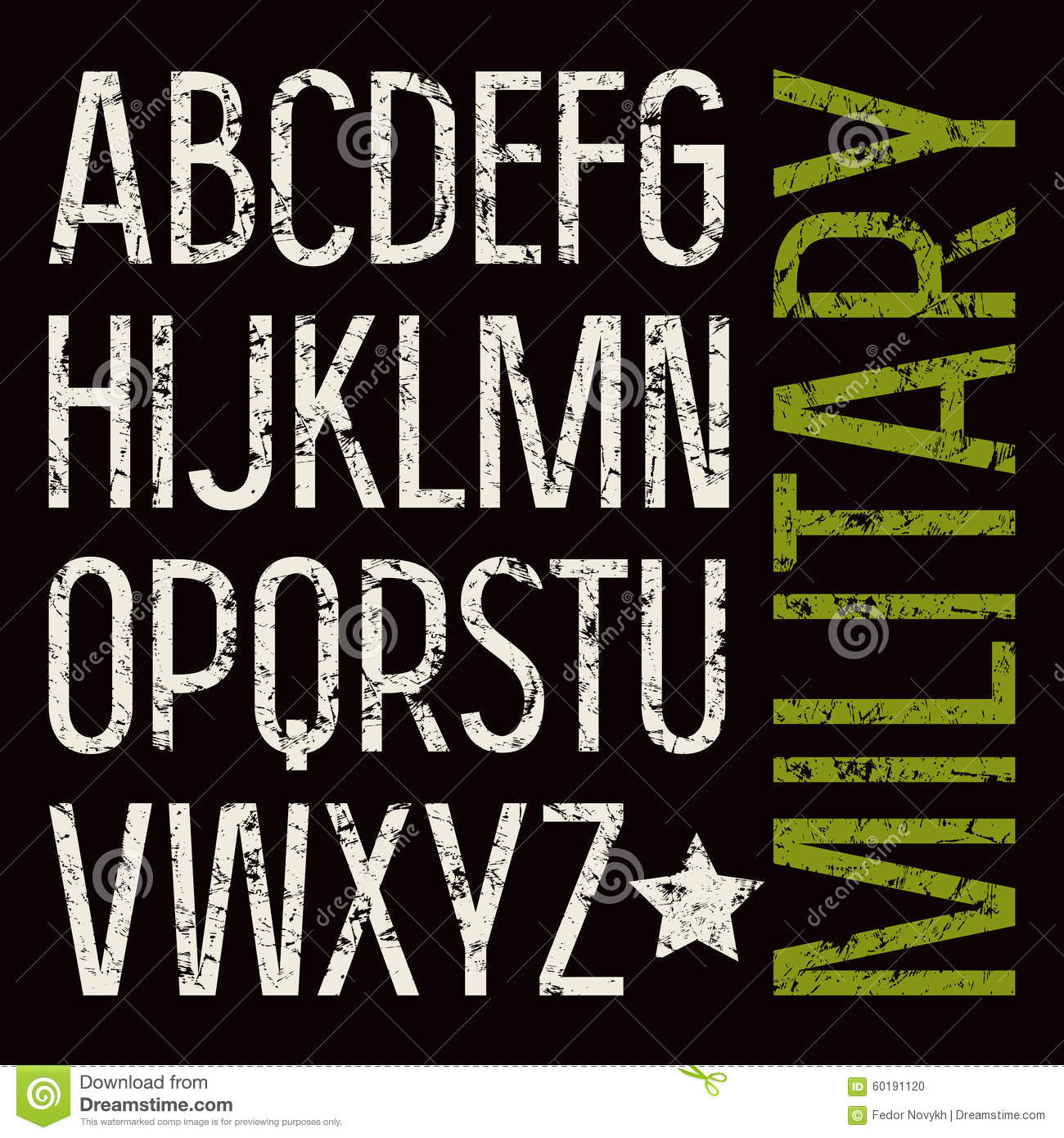 Sans Serif Font In Military Style Stock Vector - Image