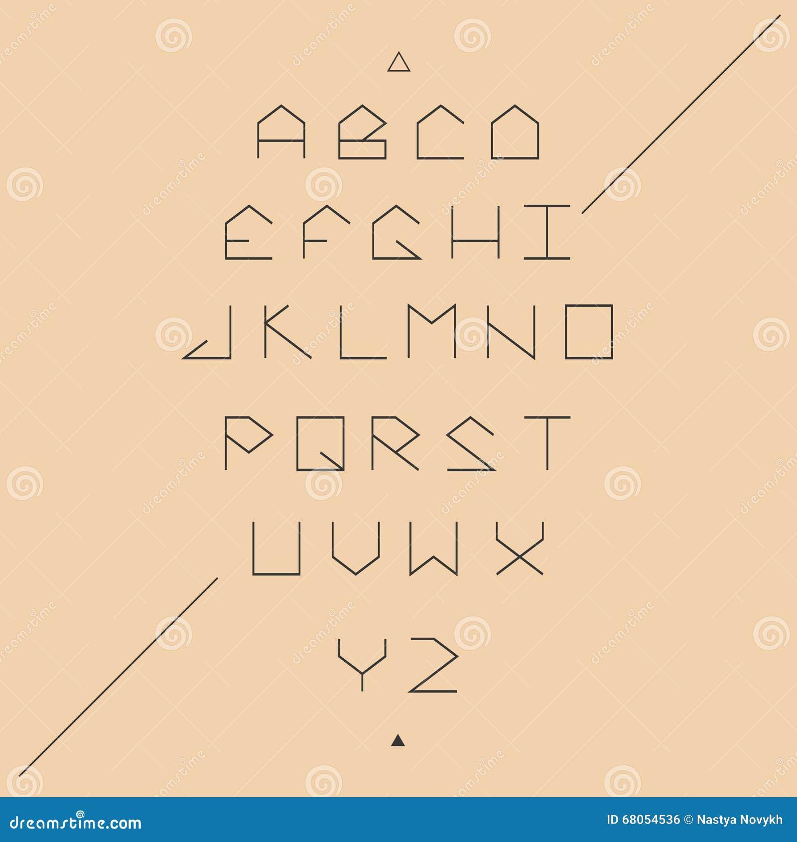 Sans Serif Lineales Geometric Font Stock Vector