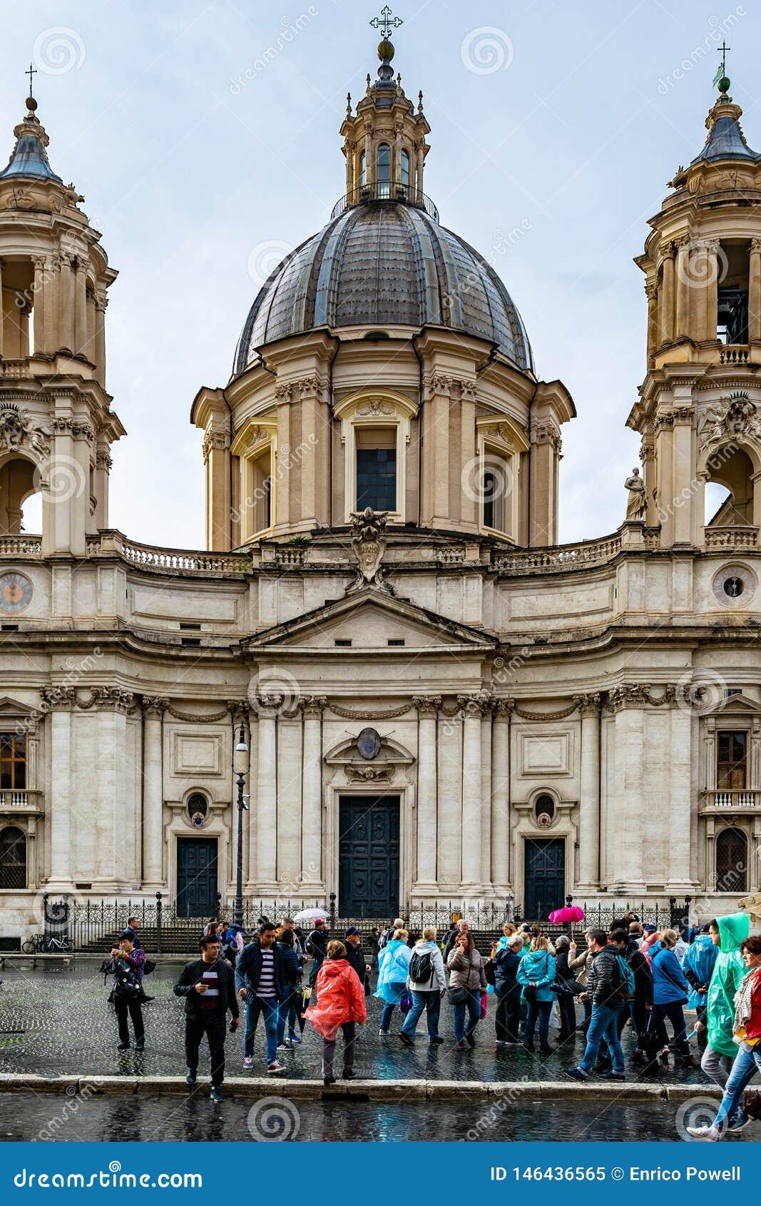 """Sant """"Agnese в Agone также вызванном Sant """"Agnese в аркаде Navona церковь XVII века барочная в Риме"""