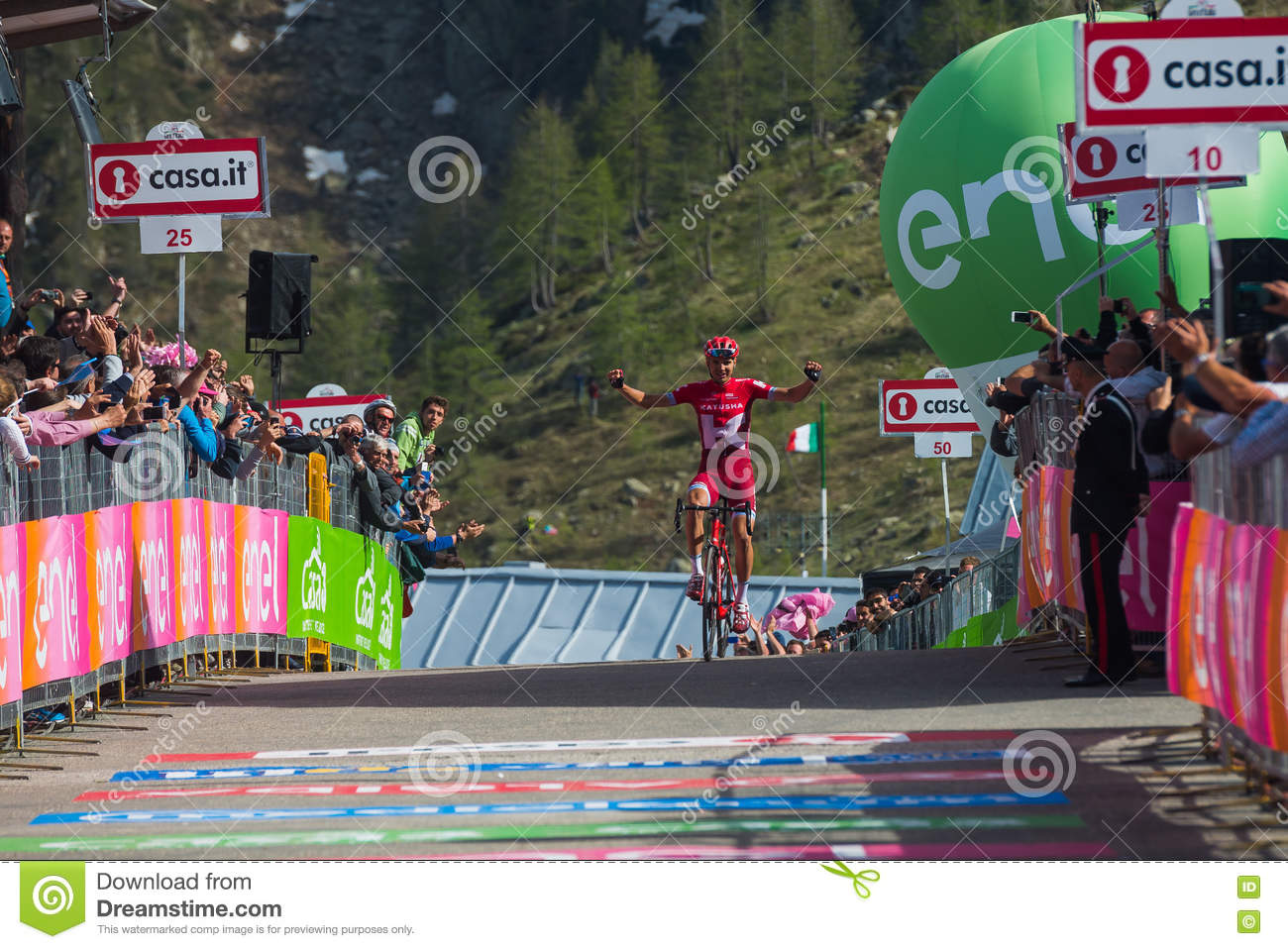 Sant Anna, Italy May 28, 2016; Rein Taaramae, Katusha team, exhausted passes the finish line and Win a hard mountain stage