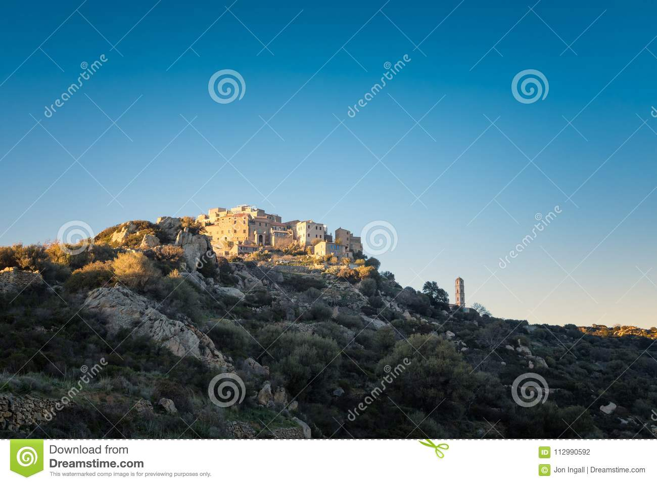 Sant` Antonino church and village in Balagne region of Corsica