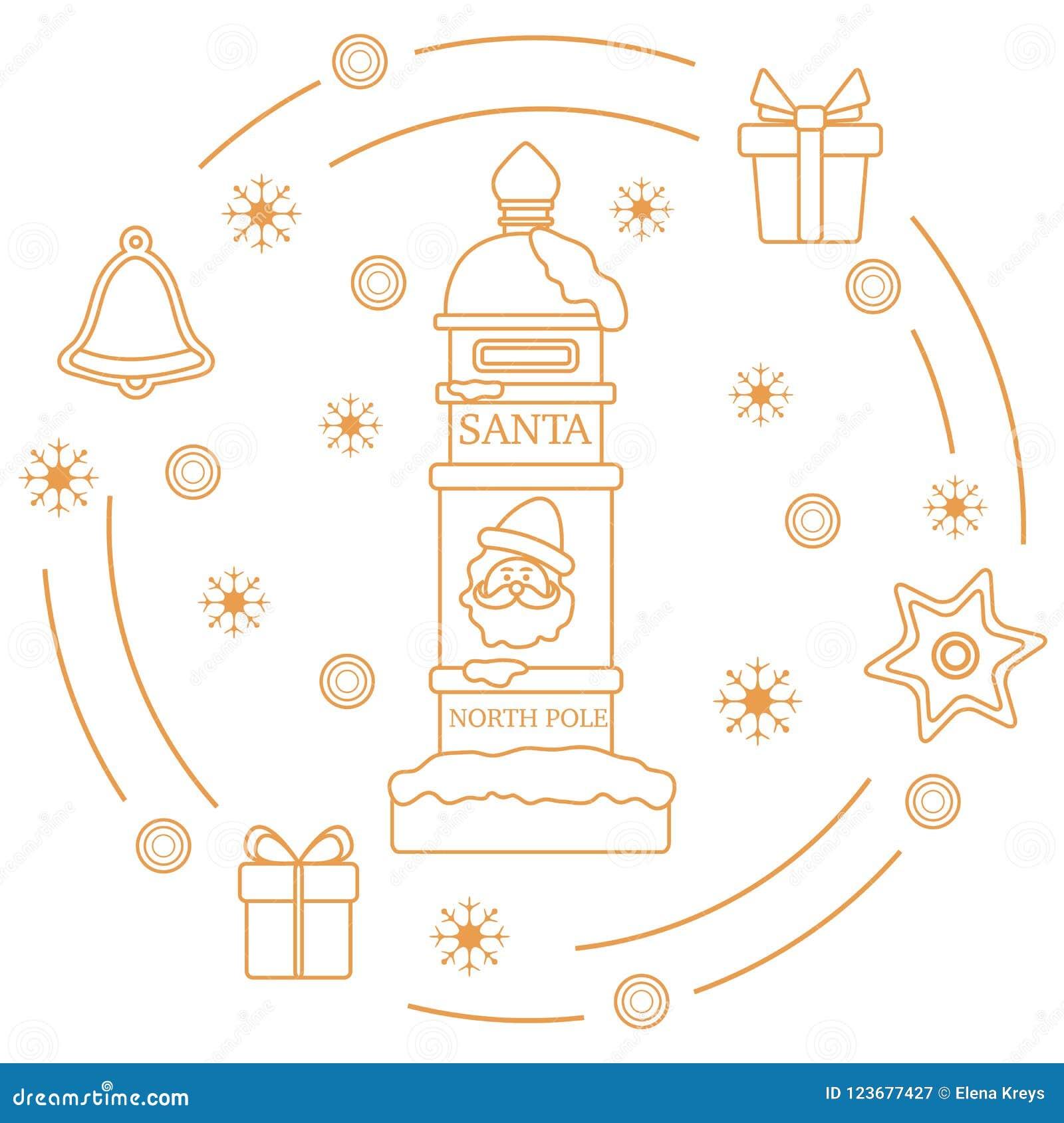 Santas Mailbox Gifts Bell Gingerbread Stock Vector