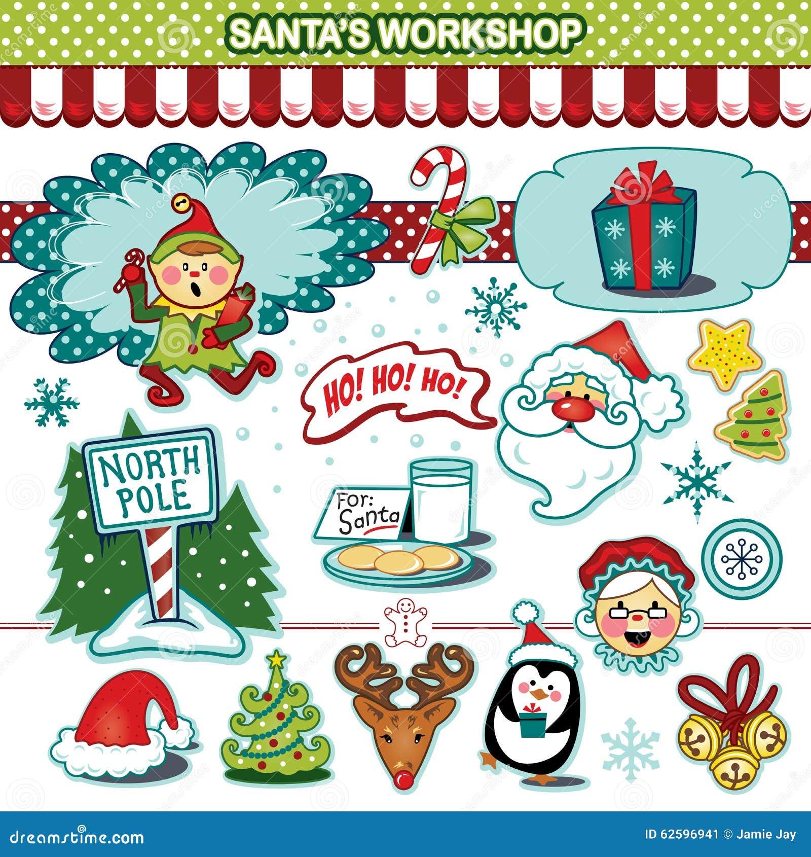 Santa's workshop Christmas holiday illustration collection