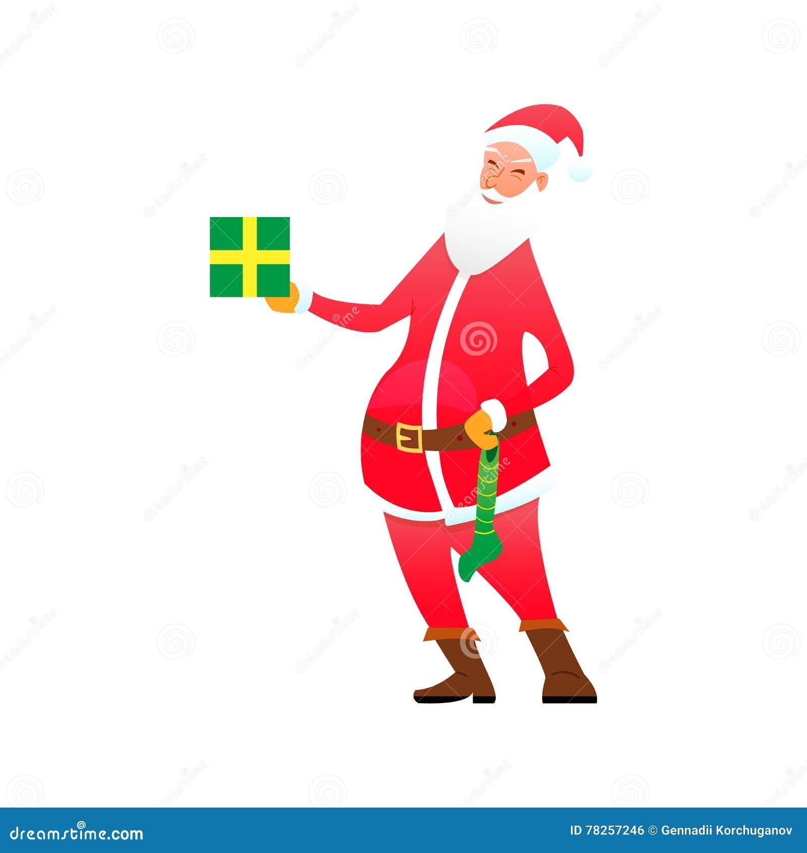 Santa με το κιβώτιο δώρων και την καραμέλα καλτσών