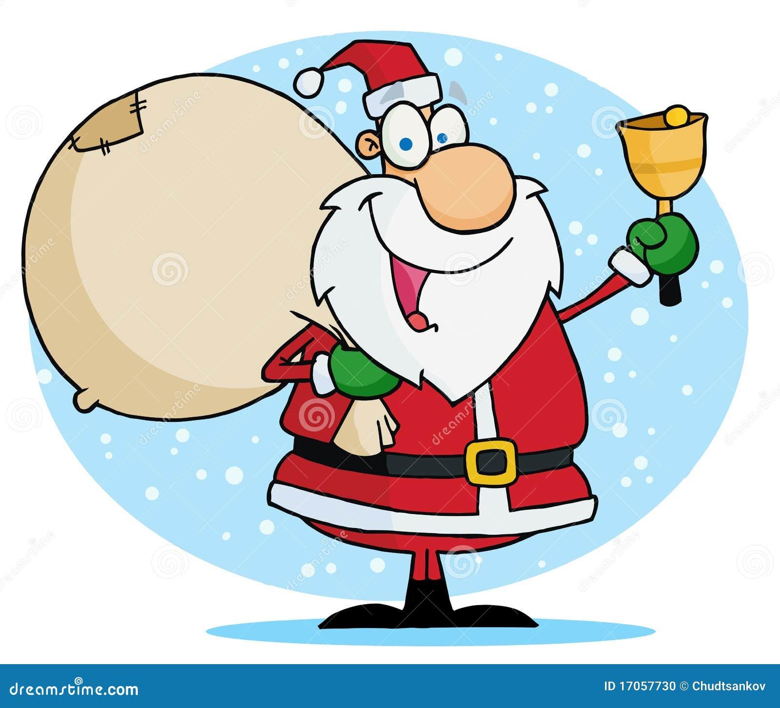 Santa που χτυπά ένα κουδούνι και που φέρνει το σάκο παιχνιδιών του
