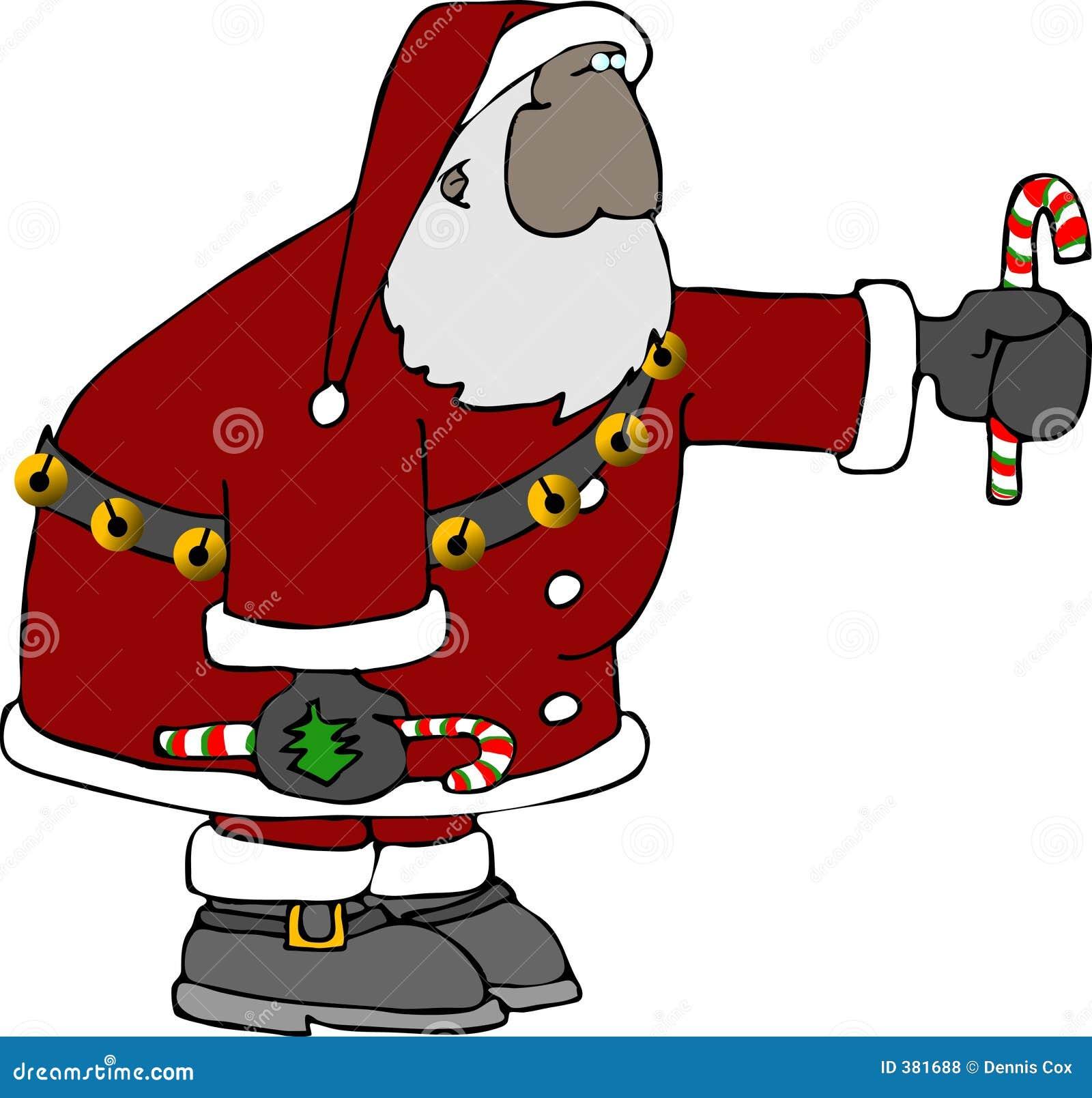 Santa avec une canne de sucrerie
