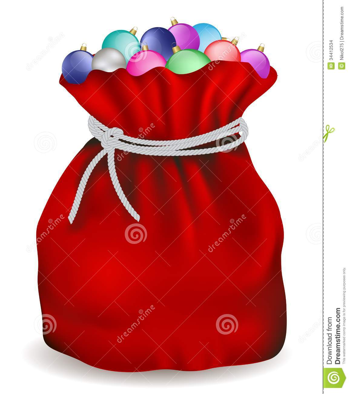 Santa bag stock vector image of holiday toys bulb