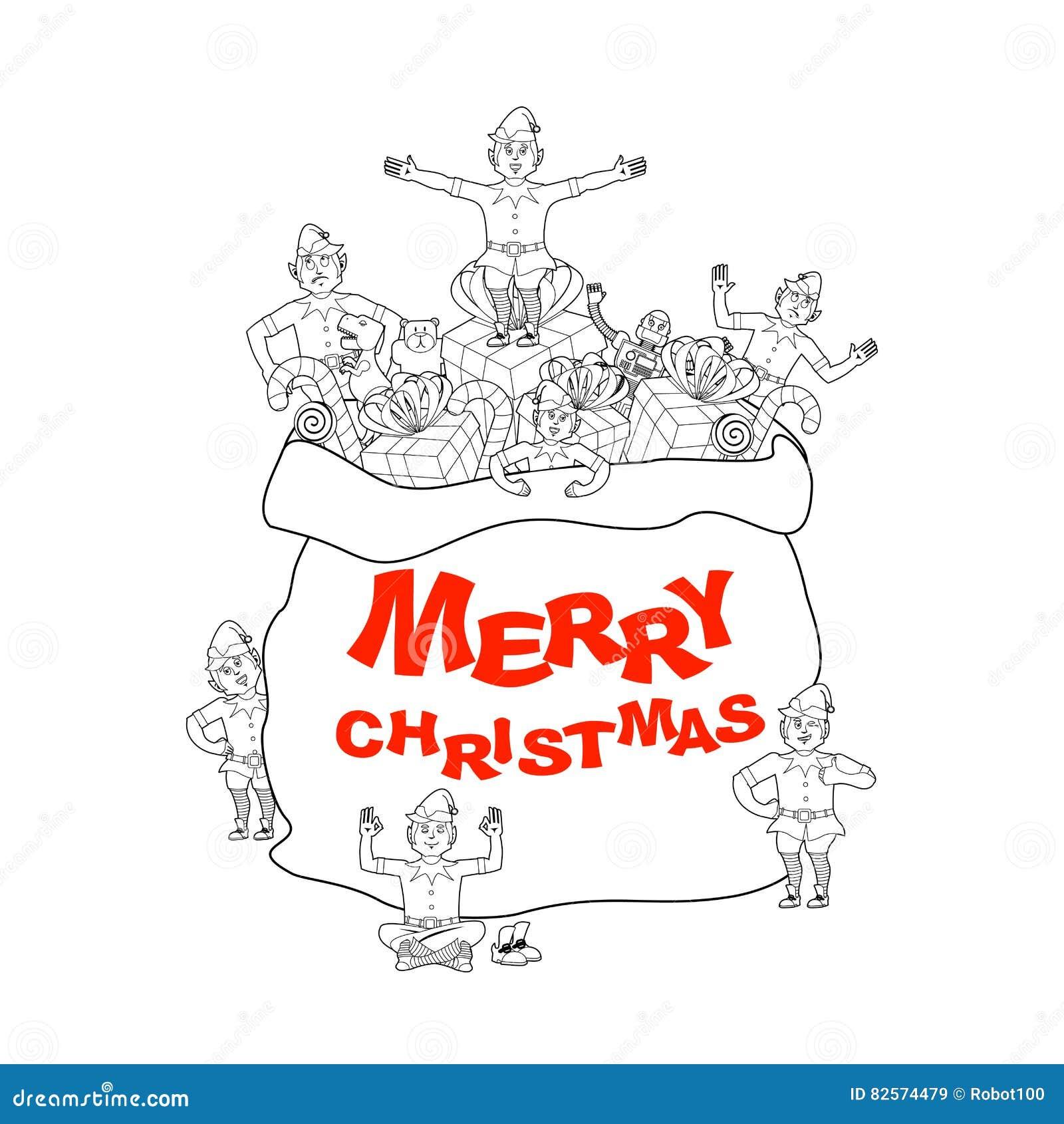Santa Bag With Gift And Elves. Merry Christmas. Big Sack For Chi ...