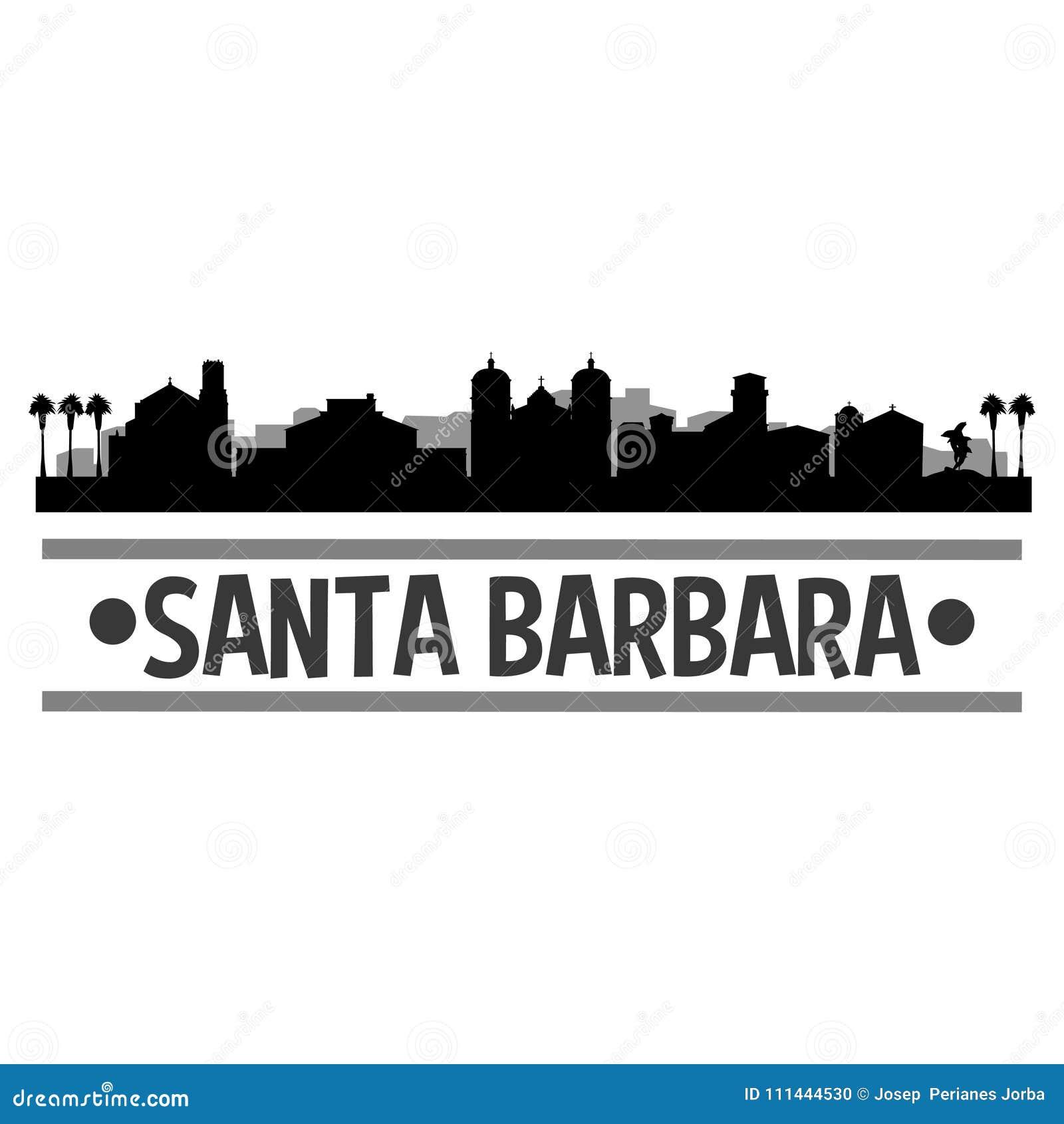 Santa Barbara California Icon Vector Art Design Skyline Flat City