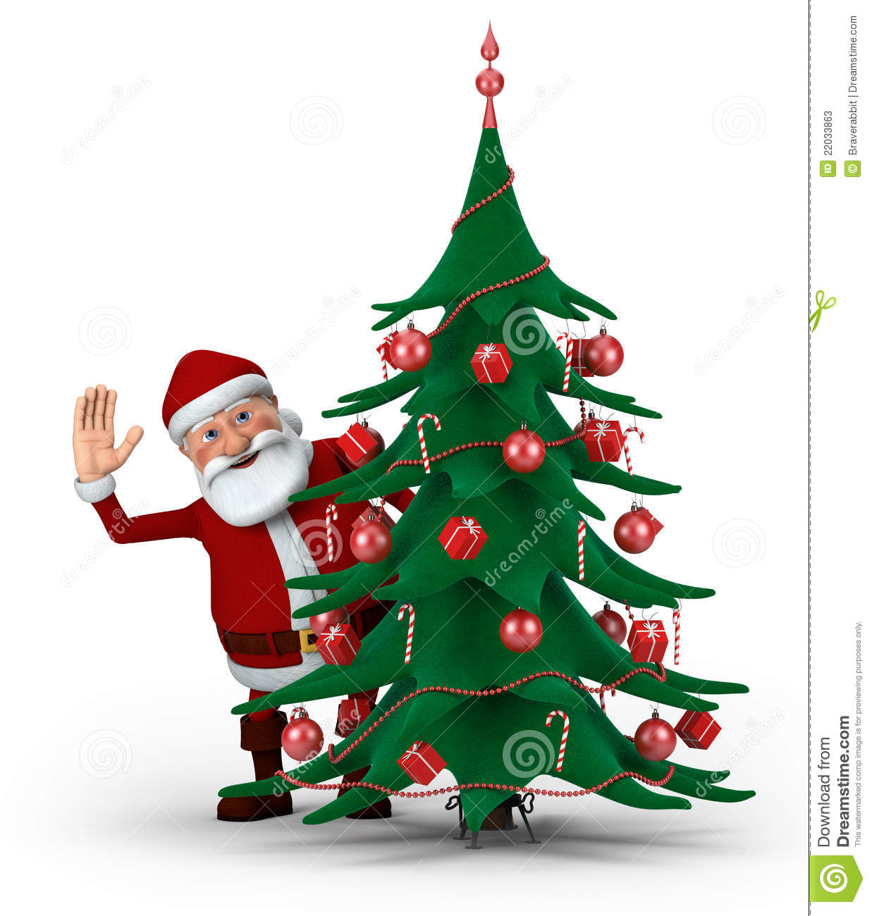 Story Behind Christmas Tree: Santa Behind Christmas Tree Stock Illustration