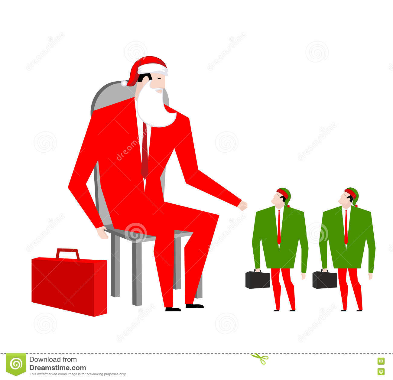 santa boss and manager elves office christmas corporate masquerade at work new year at job