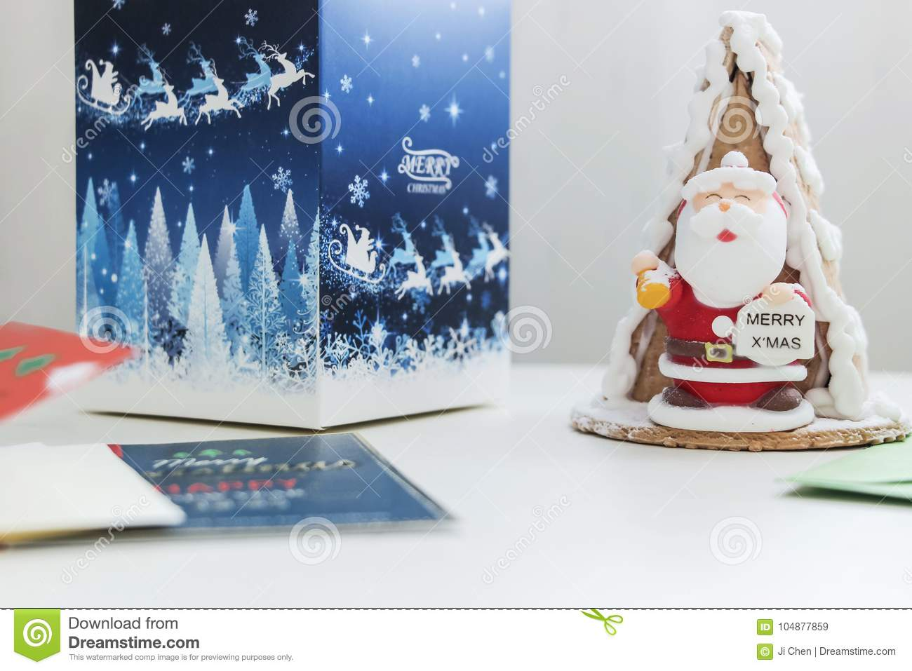 Santa Cake With Gift Box And Christmas Cards Stock Image - Image of ...