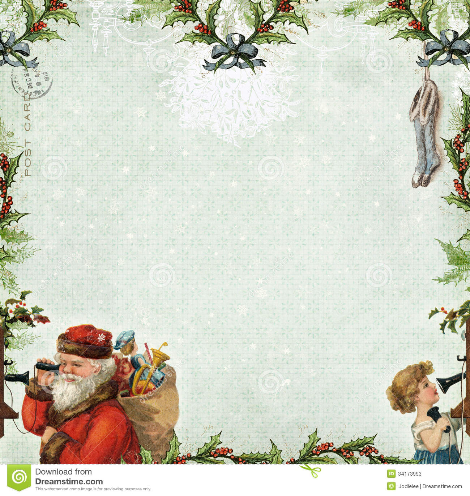 Scrapbook paper australia - Santa Calling Christmas Scrapbook Paper Background Stock Photos