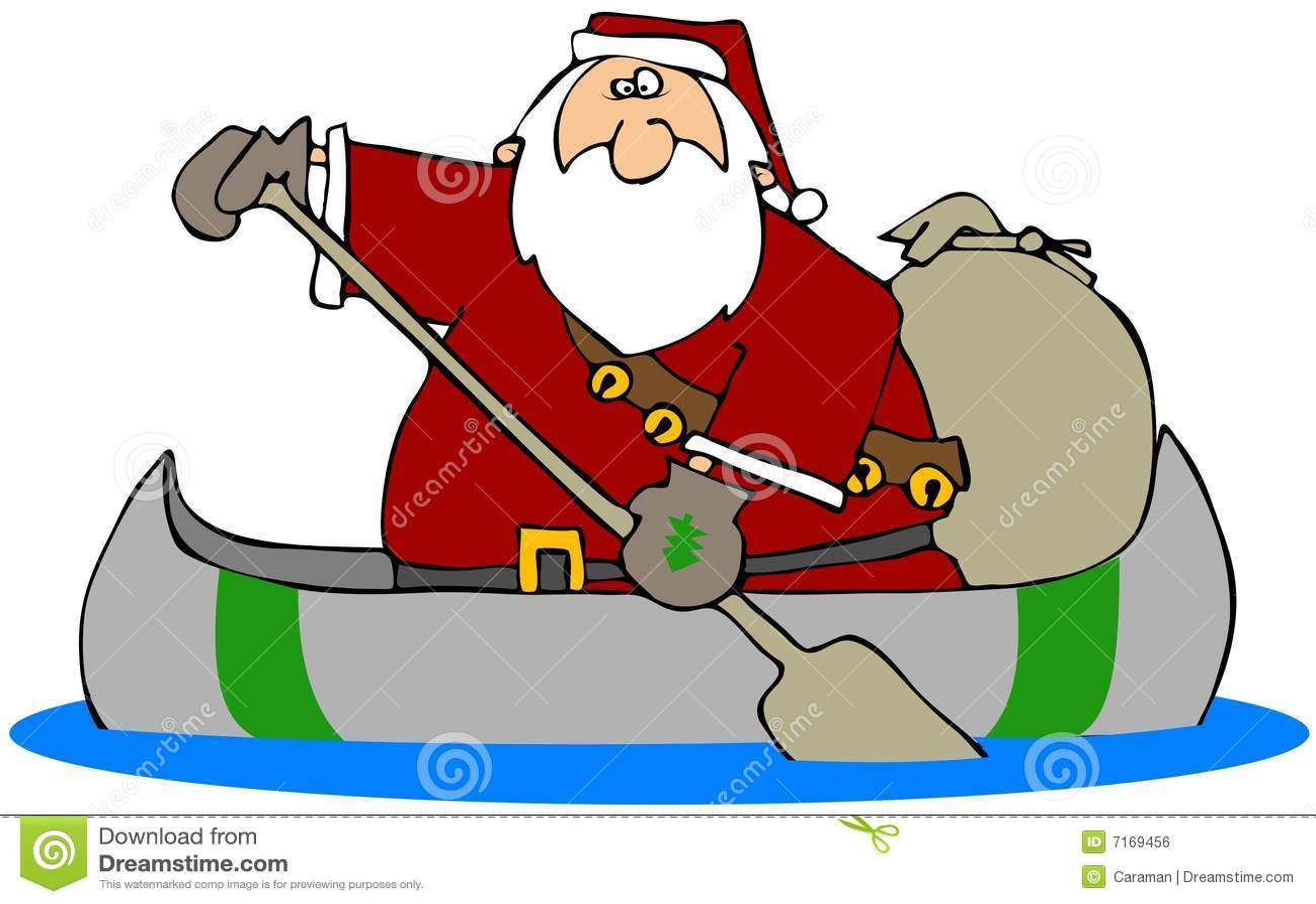 Santa in a canoe stock illustration image of paddle boat