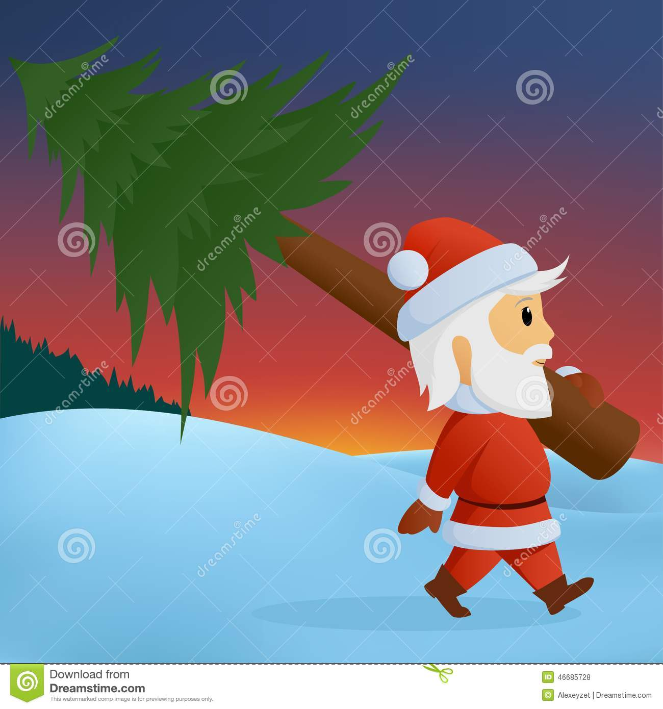 santa carry the christmas tree on winter background stock