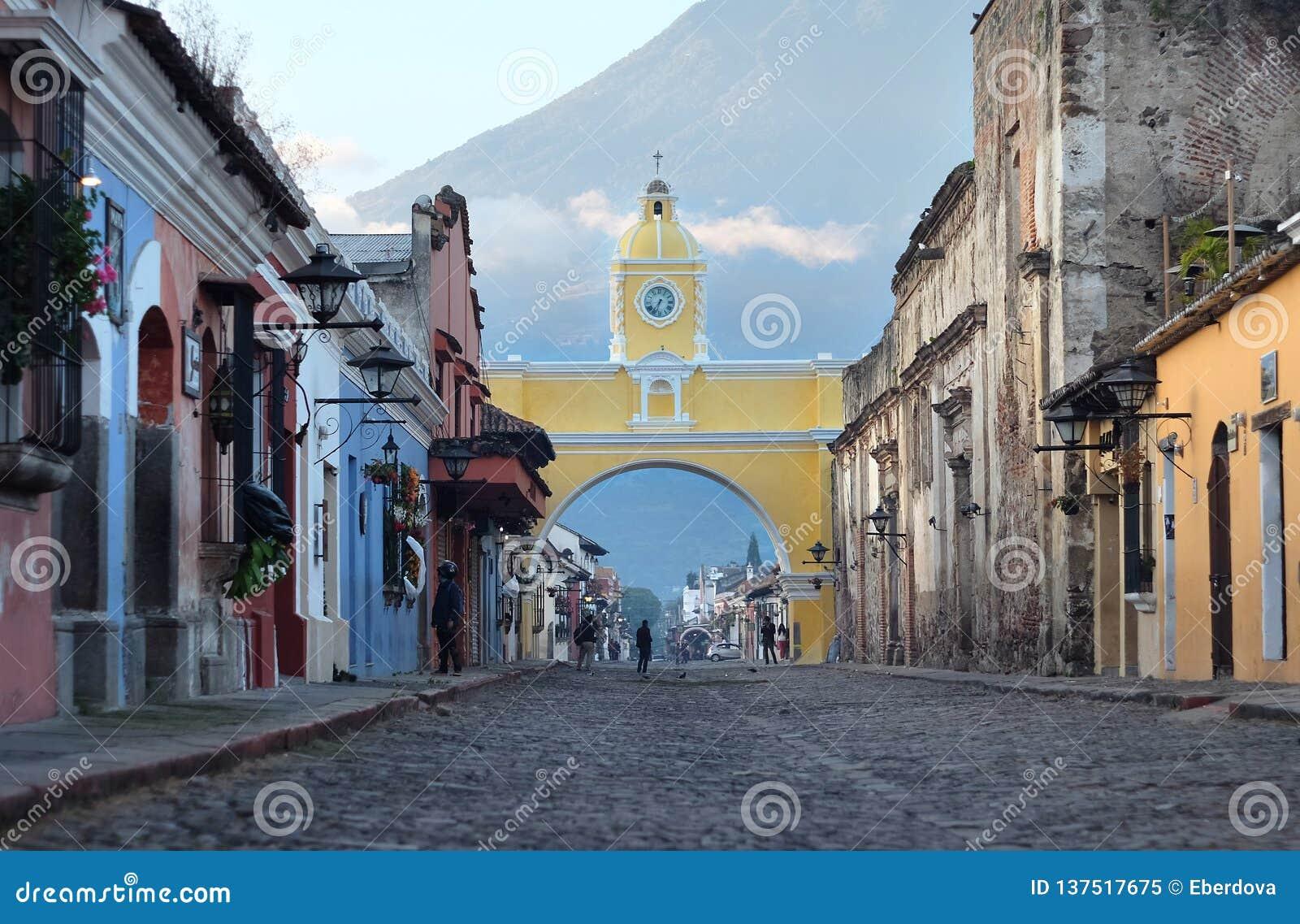 Santa Catalina Arch - one of the major attractions in Antigua City, Guatemala.