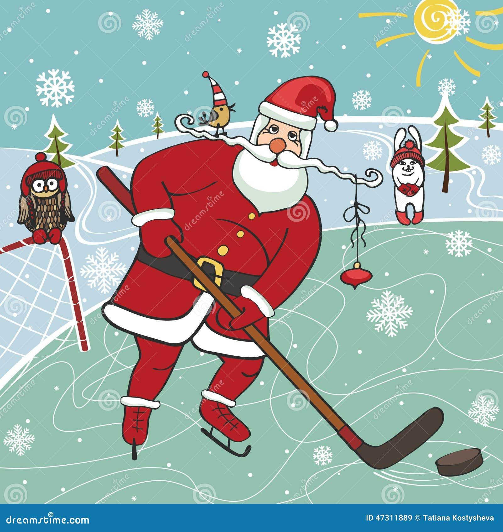 Immagini Natale Umoristiche.Santa Che Gioca Hockey Su Ghiaccio Illustrazioni Umoristiche