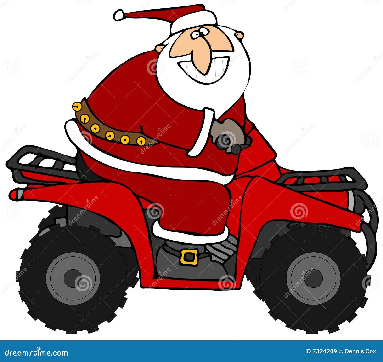 Santa che guida un ATV