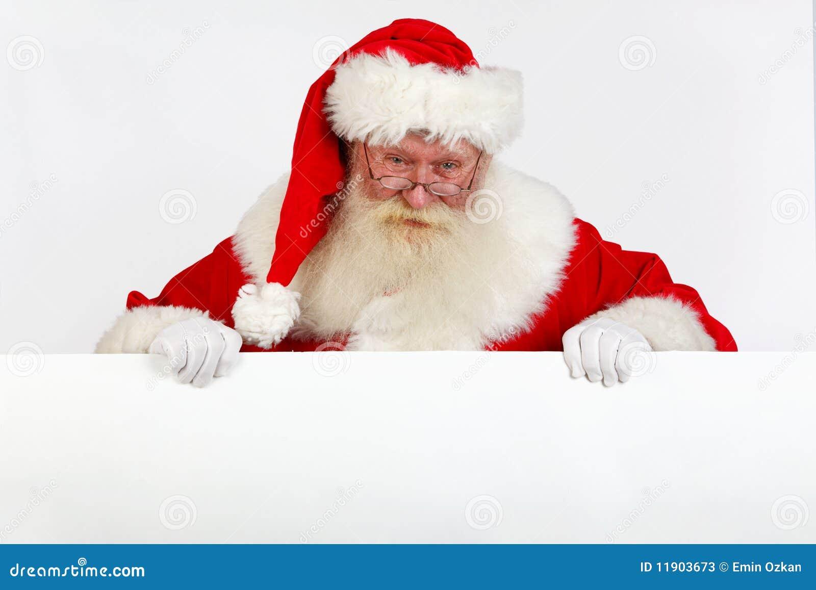 Santa che tiene bandiera bianca