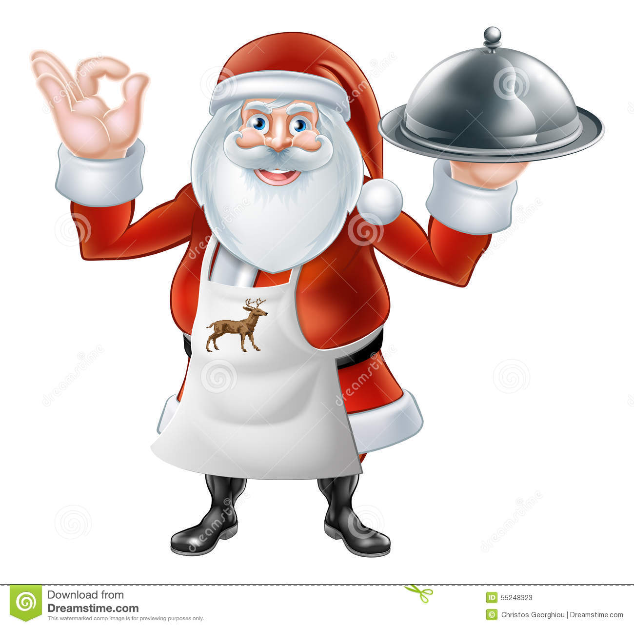 Santa chef christmas dinner 2015 e2 converted stock vector image