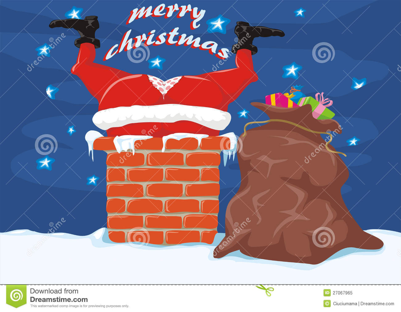 Santa In The Chimney Merry Christmas Stock Vector