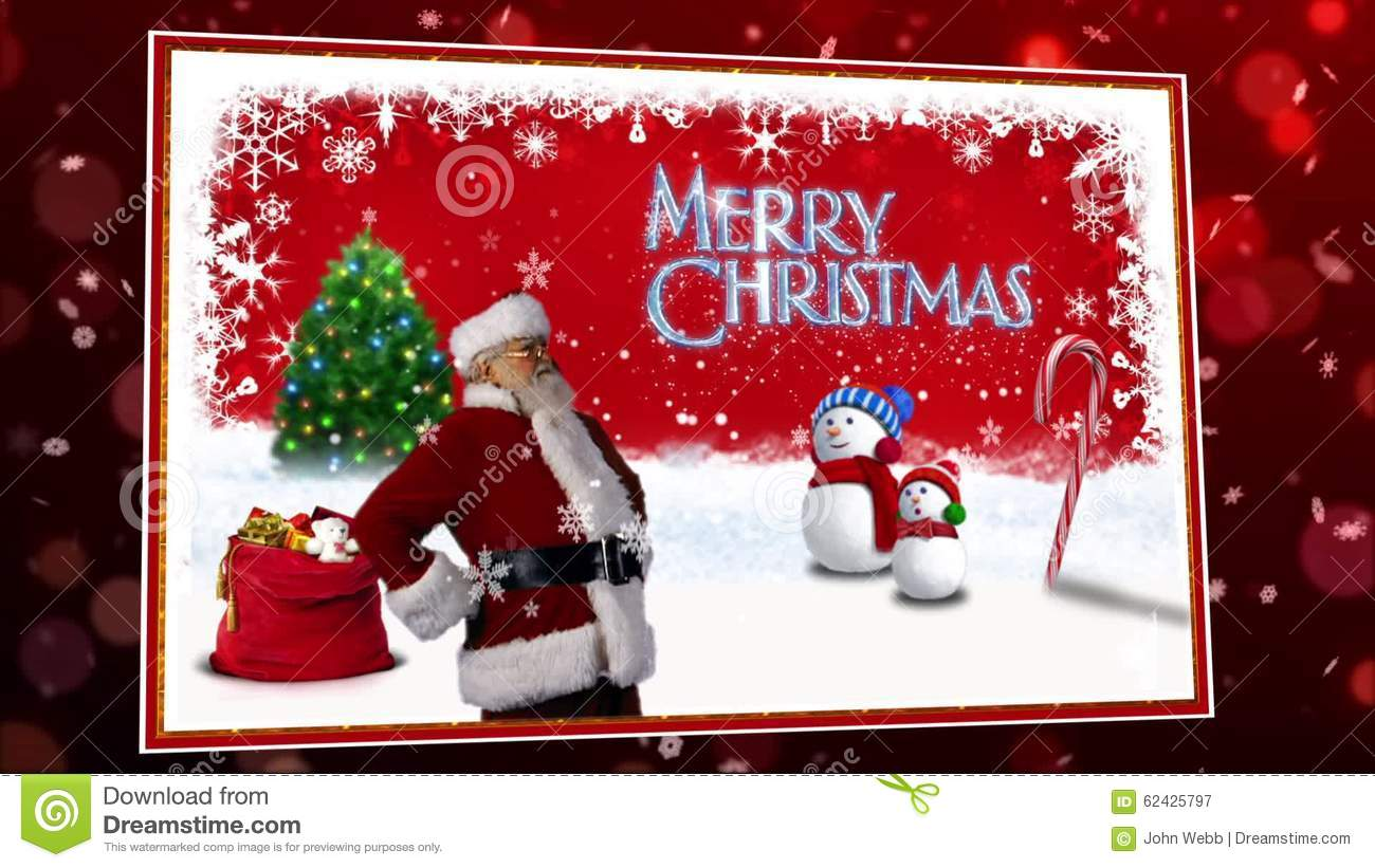 Santa Christmas Card In Red Stock Video - Video of christmas ...