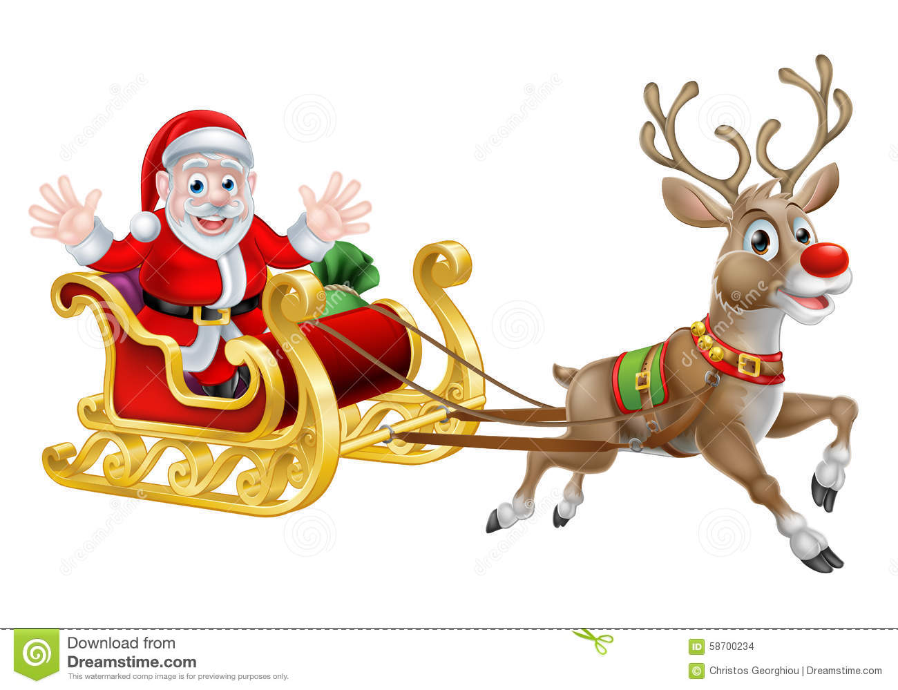 Cartoon of Santa and his reindeer with his Christmas sled.