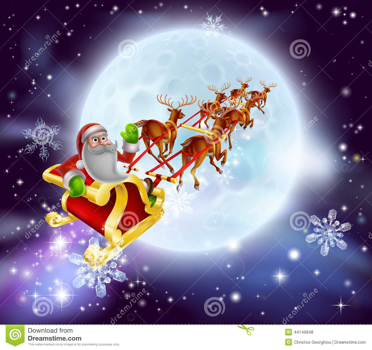 Christmas cartoon illustration of Santa clause in his sleigh or sled ...