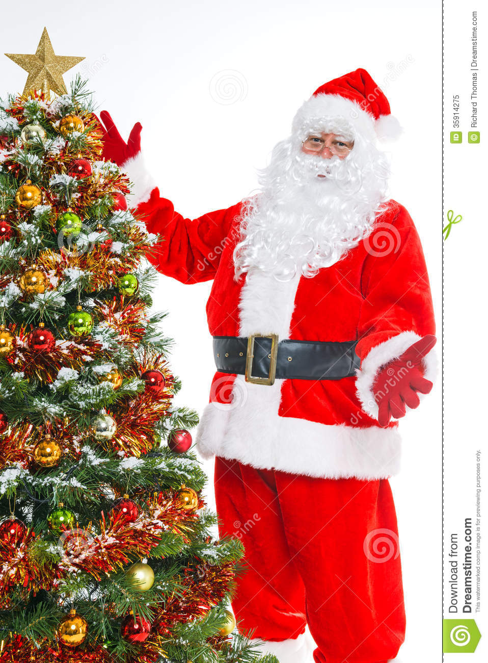Santa And Christmas Tree Isolated Royalty Free Stock Photo - Image ...