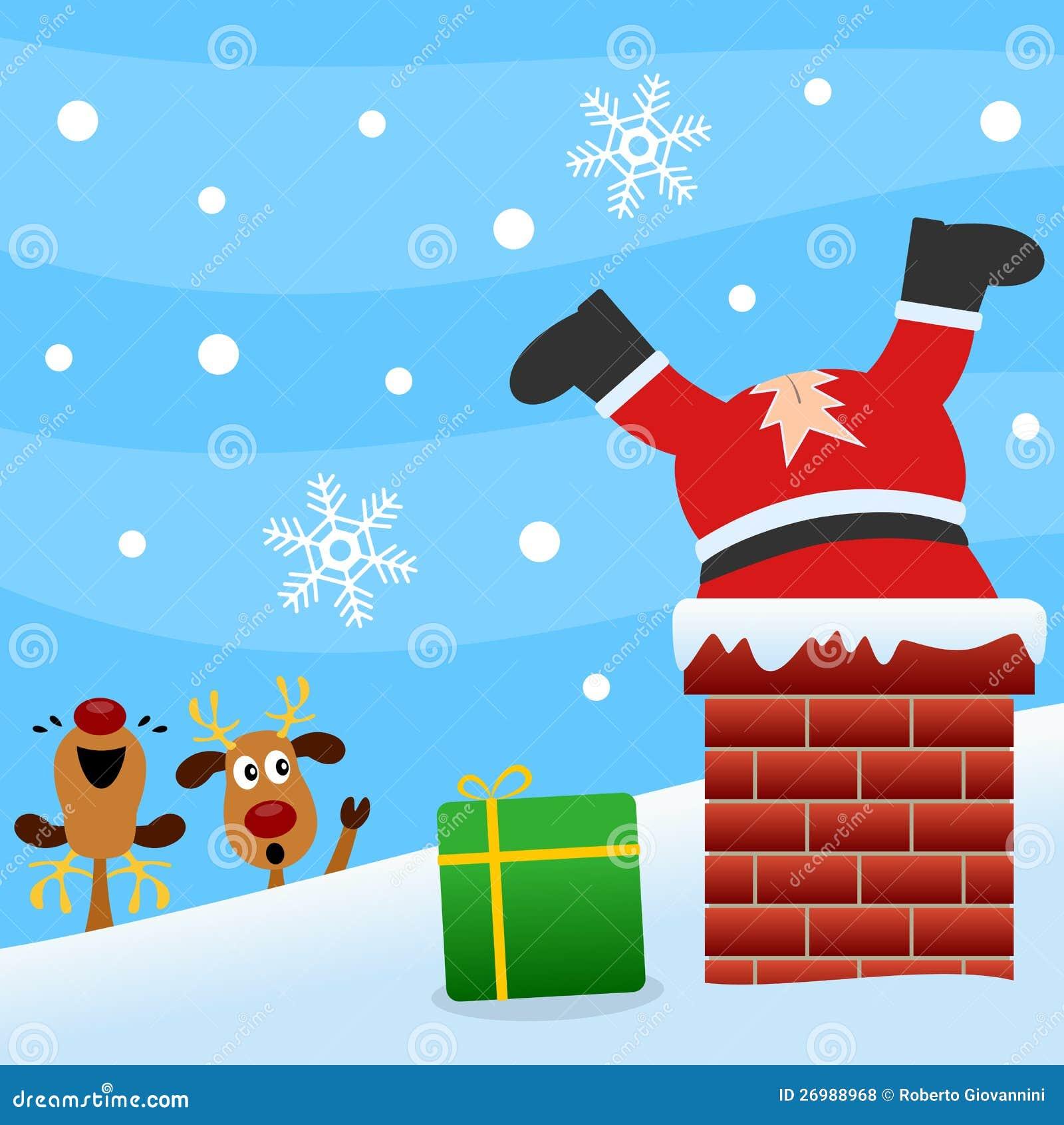 Santa Claus в печной трубе