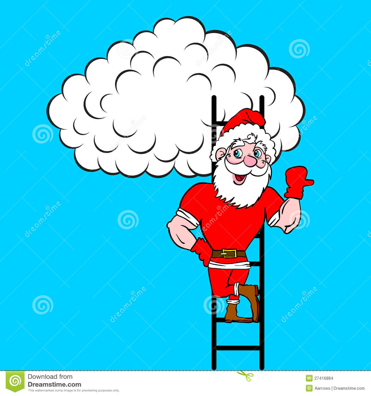 Santa claus coming up the stairs to cloud vector illustration