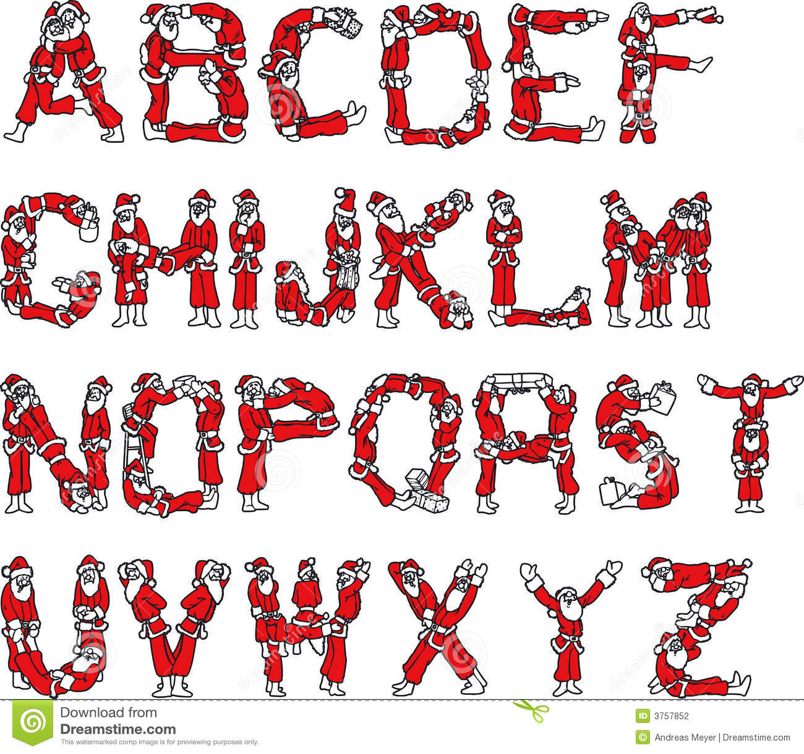 Santa claus alphabet stock vector illustration of - Alphabet noel ...