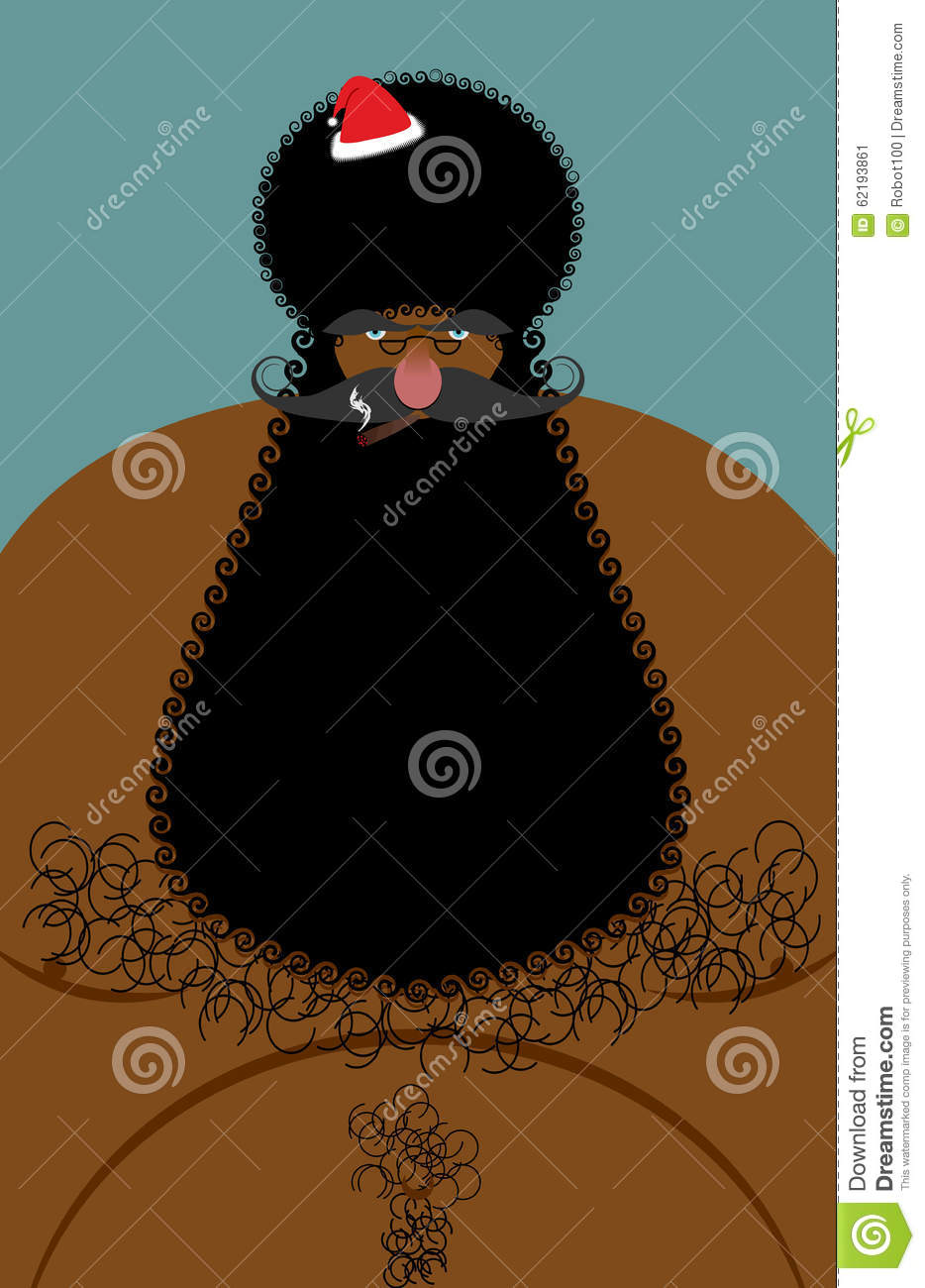 Santa Claus American African Naked. Naked Old Christmas Stock ...