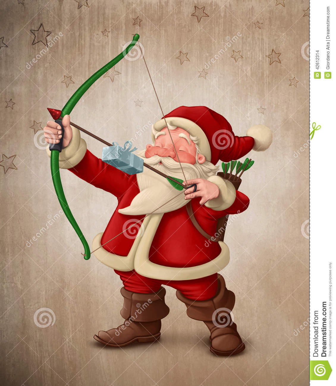 Santa Claus Archer Stock Illustration Image 42612314
