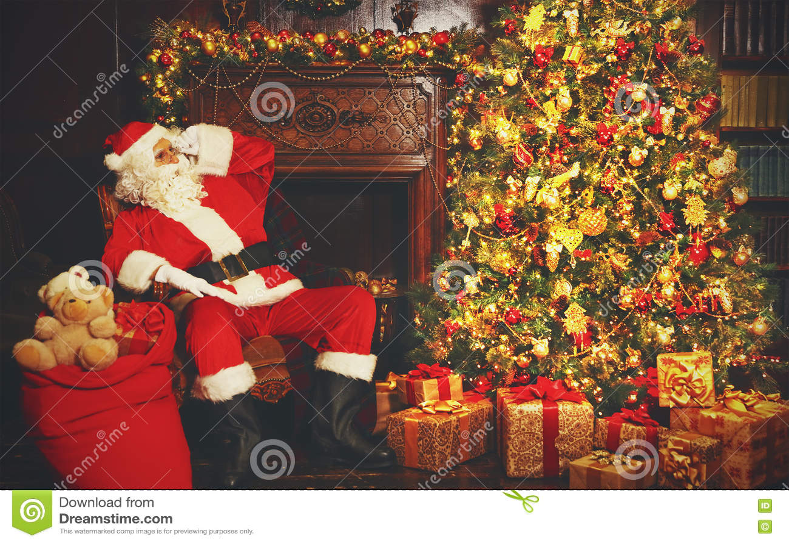 Santa Claus Around Christmas Tree Stock Image Image Of