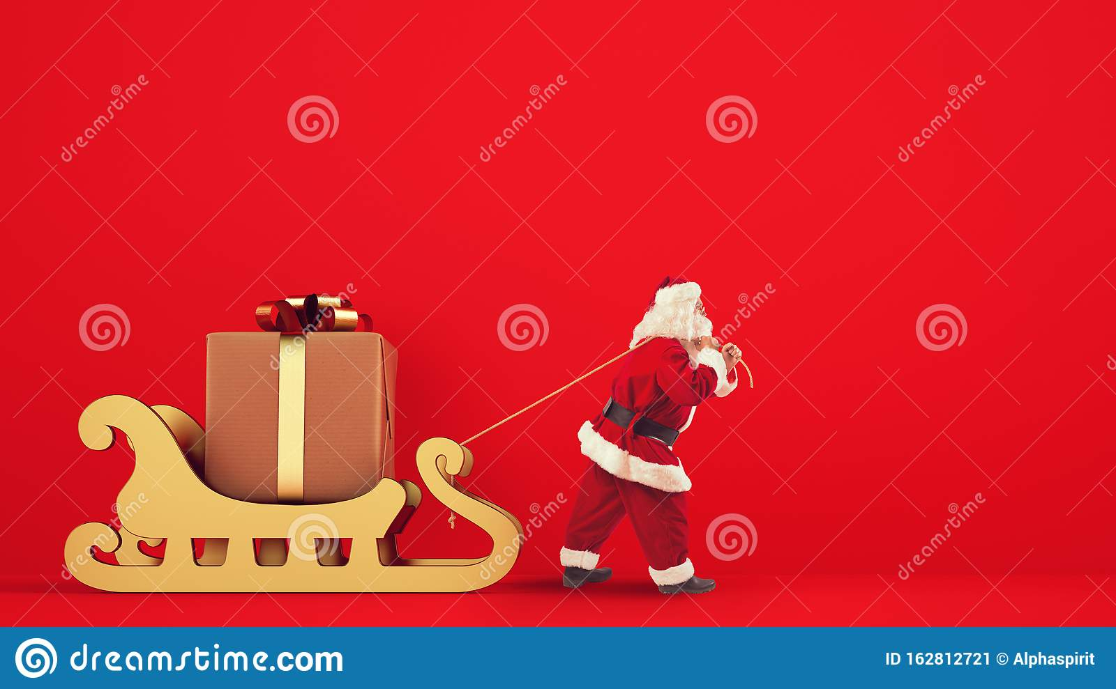 Santa Claus drags a big gift with a golden sleigh on a red background
