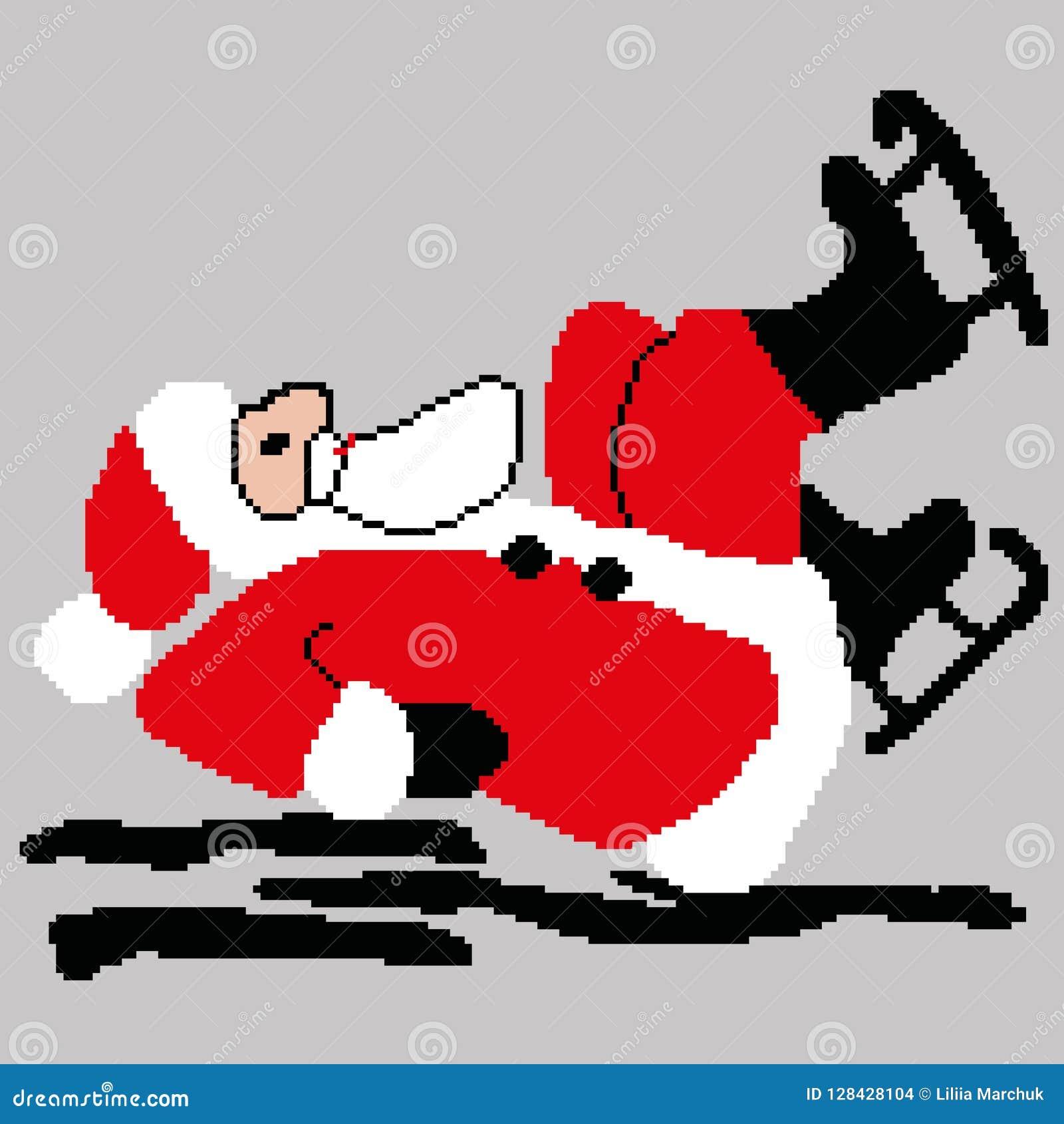 Santa Claus Santa Claus att åka skridskor som är stupat på dragen is, kvadrerar, PIXEL Lyckligt nytt år för hälsningkort också ve