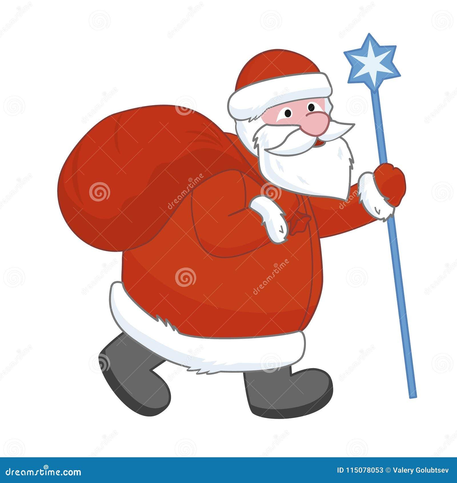 Santa Claus avec un grand sac de cadeau