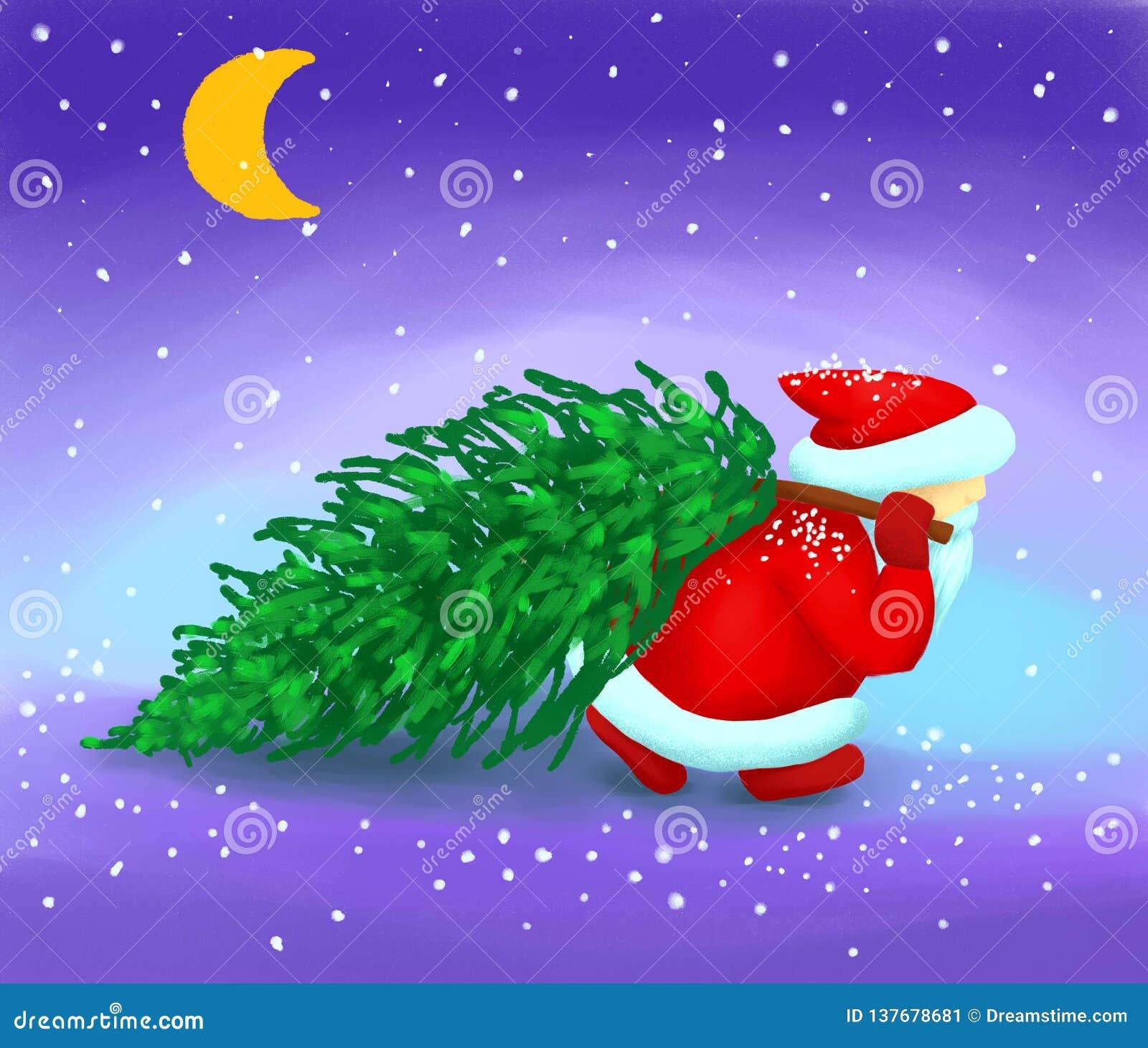 Santa Claus bär en julgran i snön