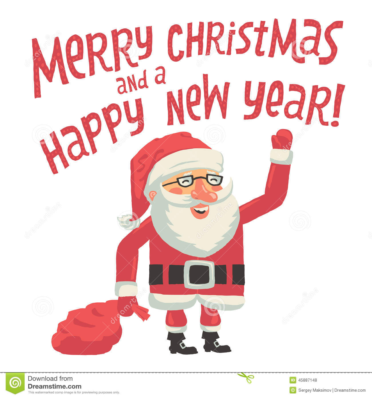 Santa Claus With A Bag Full Of Gifts. Merry Christmas And A Happy New Year Greeting Card With ...