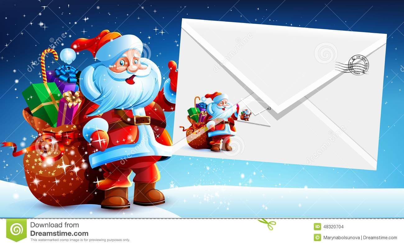 Santa Claus With A Bag Of Gifts Holding An Envelope Stock Illustration ...