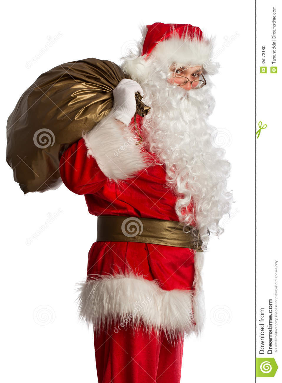 Santa claus with bag isolated stock photo image