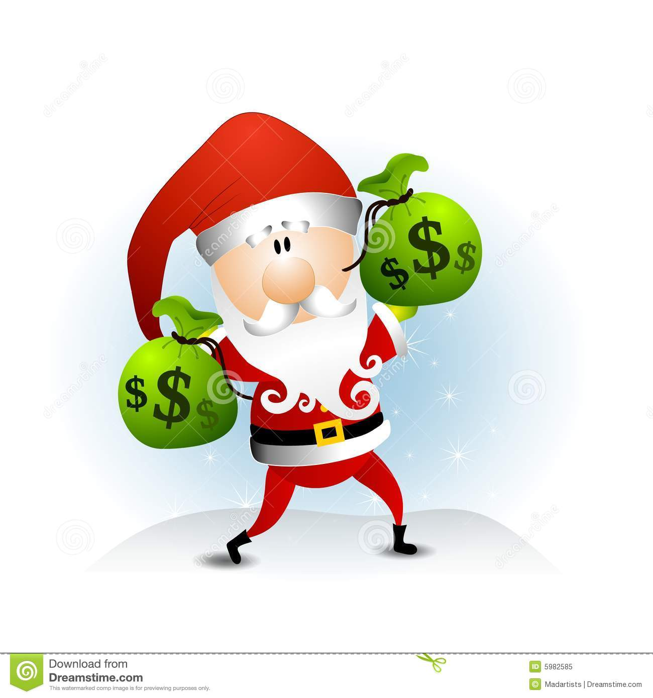 Santa Claus Bags of Money stock illustration. Illustration ...
