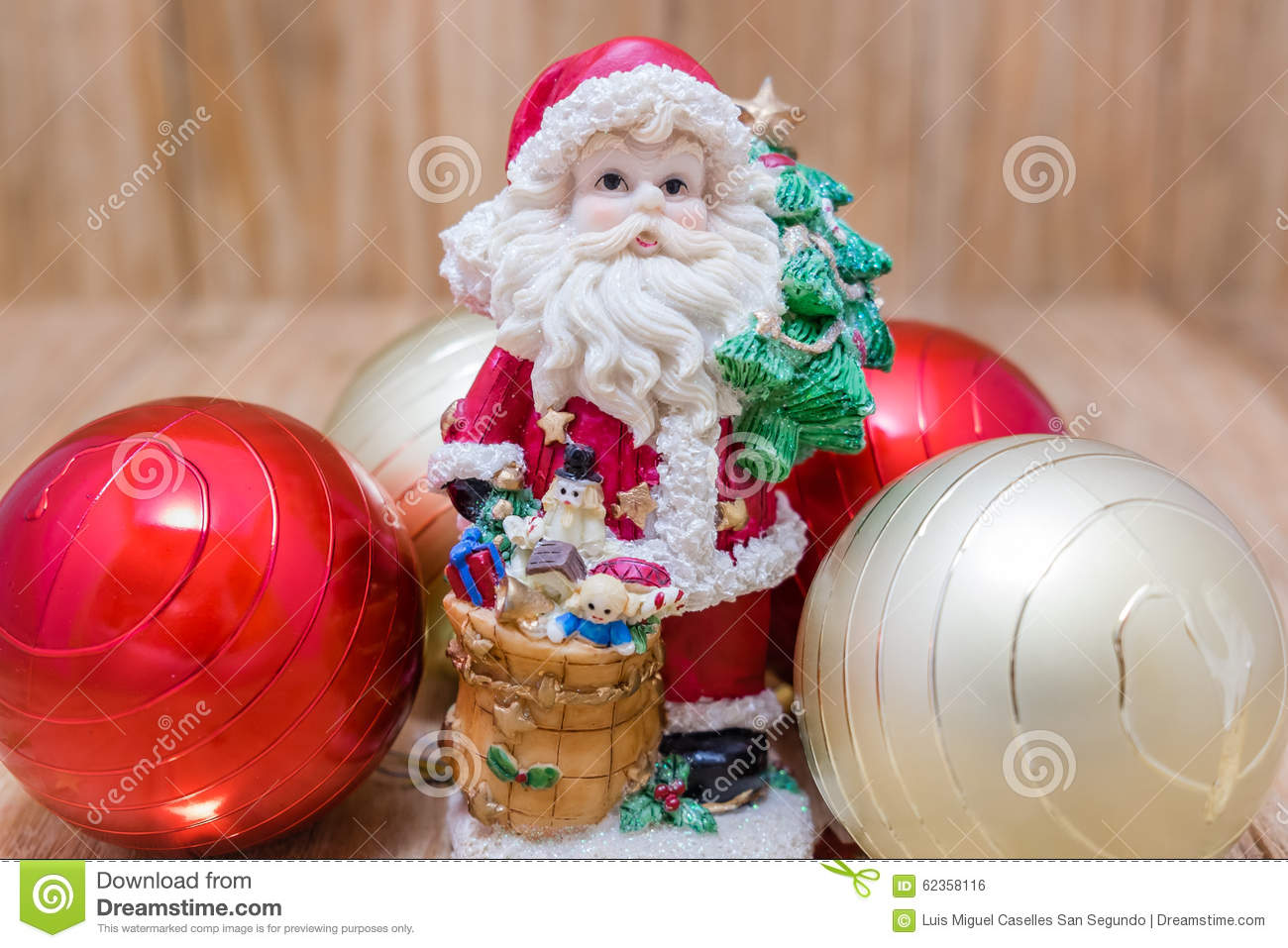 Santa claus and balls stock photo image