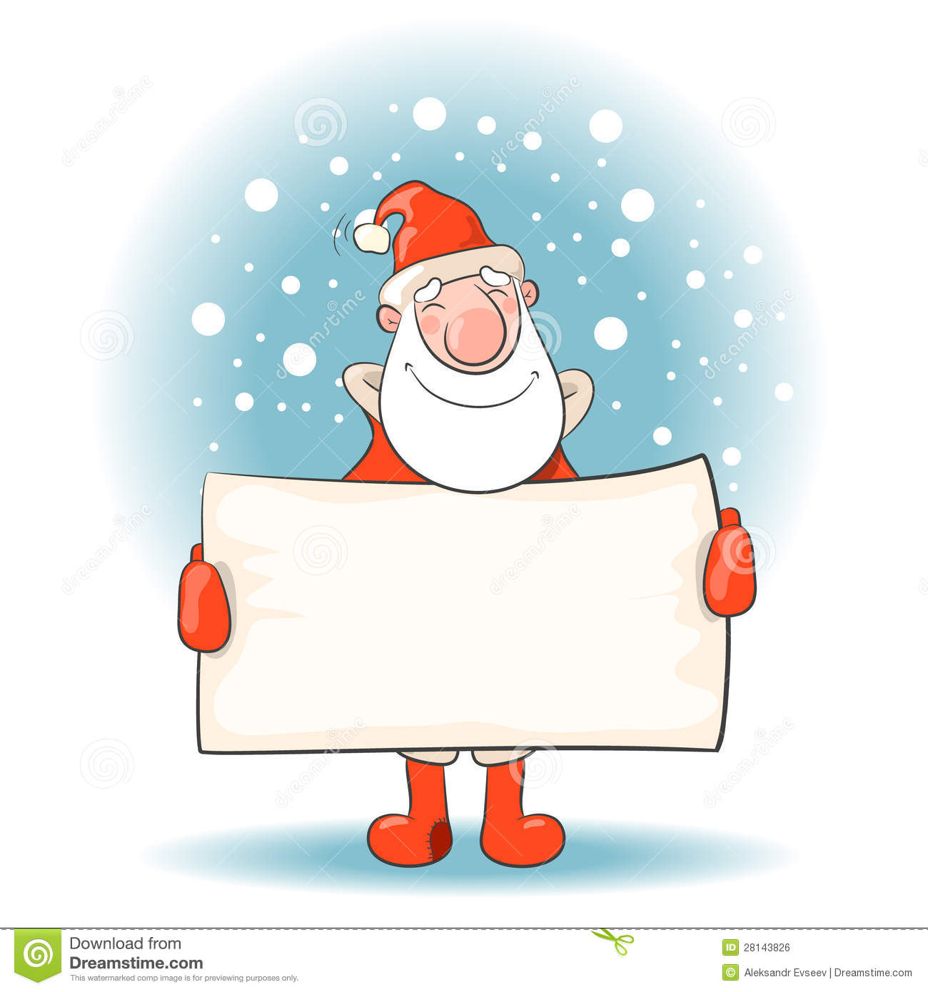 Santa claus with a banner royalty free stock image