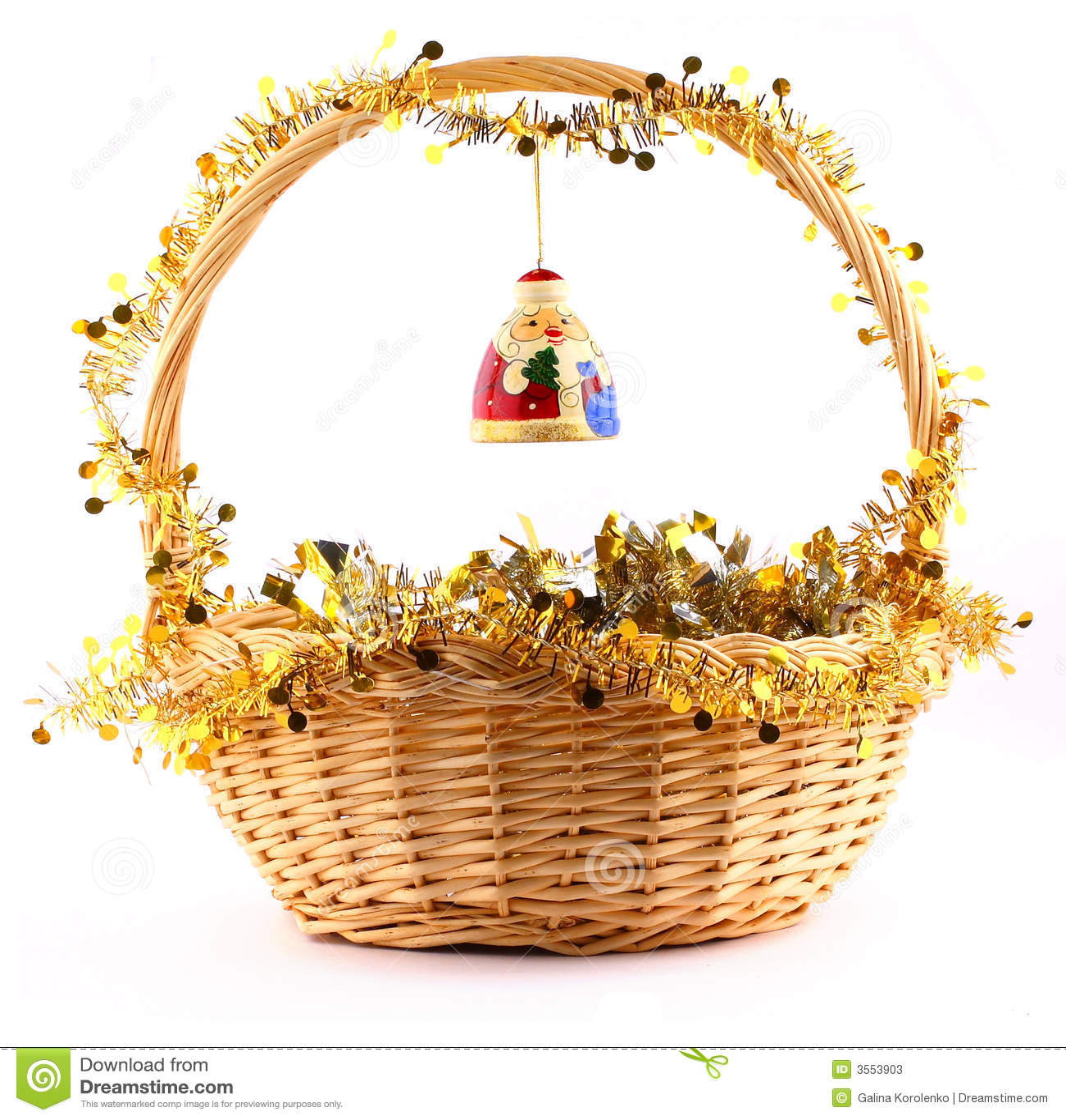 Santa claus on the basket stock photos image