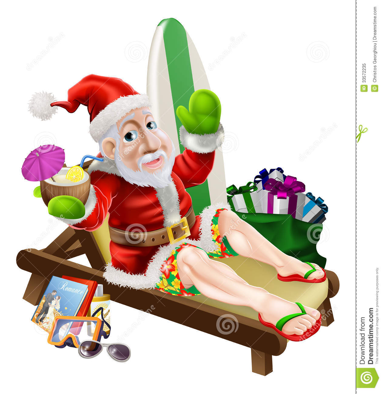Relaxing Vacation Cartoon Santa claus beach vacation