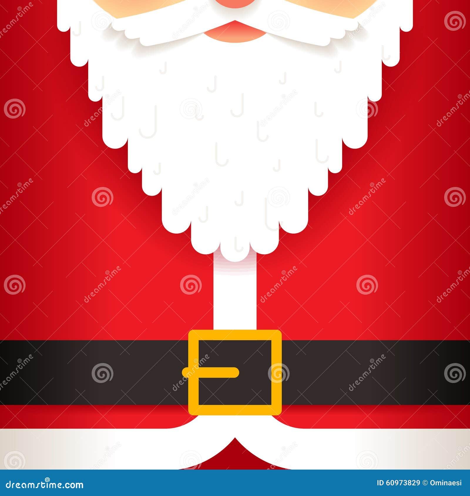 santa claus beard belt greeting card template flat stock vector