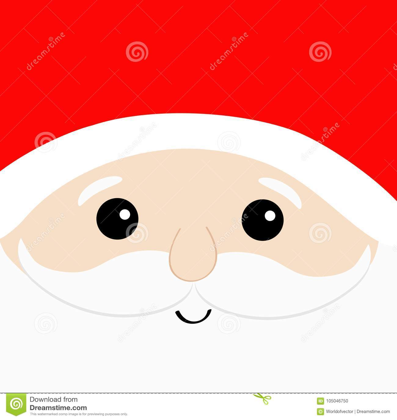 Santa Claus Big Head Face Beard Moustaches White Eyebrows Red Hat Cute Cartoon Kawaii Funny Character Merry Christmas Winte Stock Vector Illustration Of Kawaii Brow 105046750