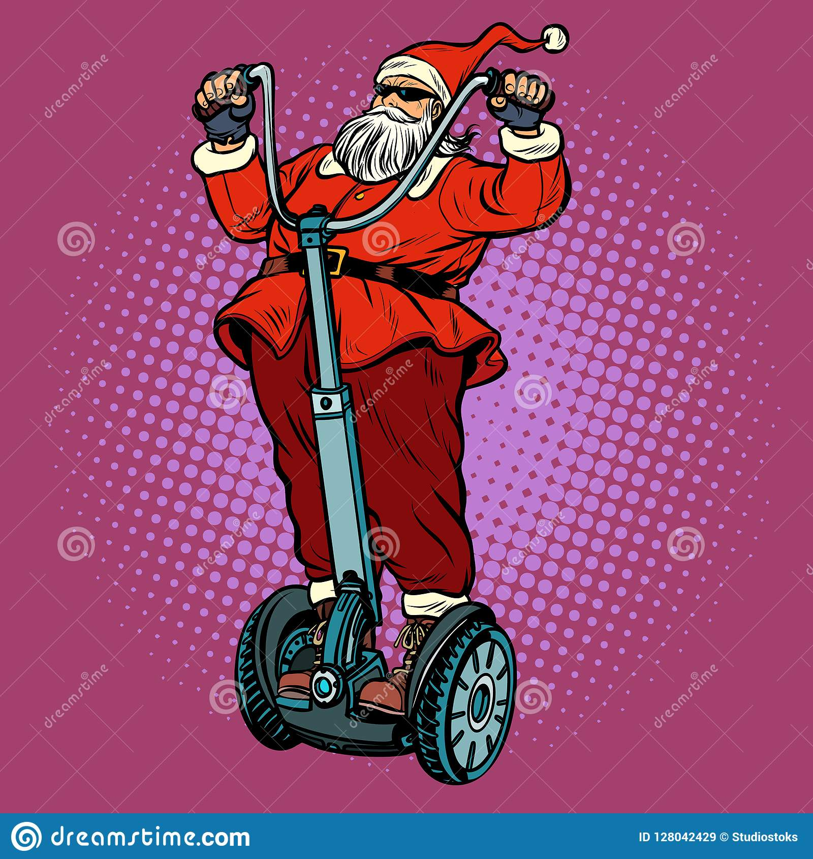 Santa Claus Biker With Christmas Gifts Rides An Electric Scooter ...